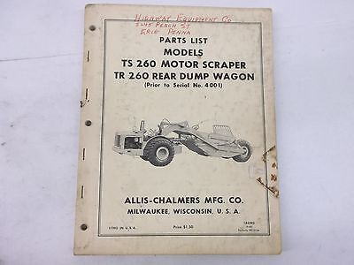 Allis Chalmers Models Ts 260 Motor Scraper Tr 260 Rear Dump Wagon Parts List