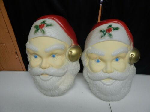 SANTA FACE light cover blow mold type plastic Christmas hanging decoration 19x14