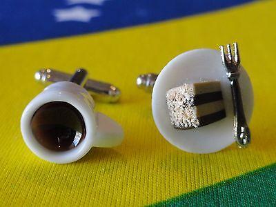 Kaffee Kuchen Manschettenknöpfe Künstlerisch Handgemacht Cool Foodie Süß Dessert