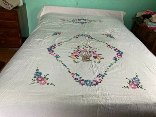 Vintage Quilt top basket of flowers embroidery on a full size sheet #40