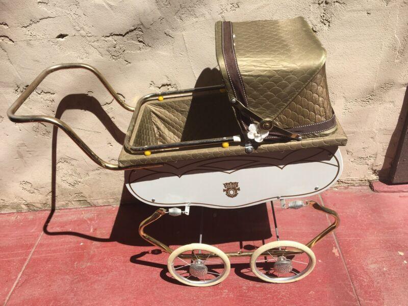 Vintage Antique White Gold Bronze Trim Coronet Crown Baby Doll Carriage Stroller