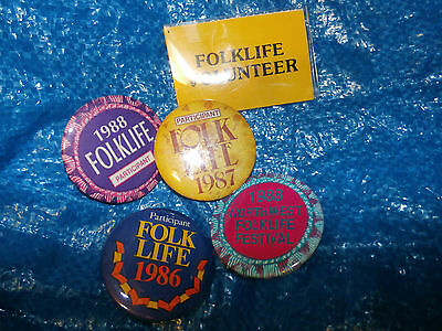 Lot of 5 Five 1980's Vintage Folk Life Buttons Pins 1986 1987 1988 Volunteer
