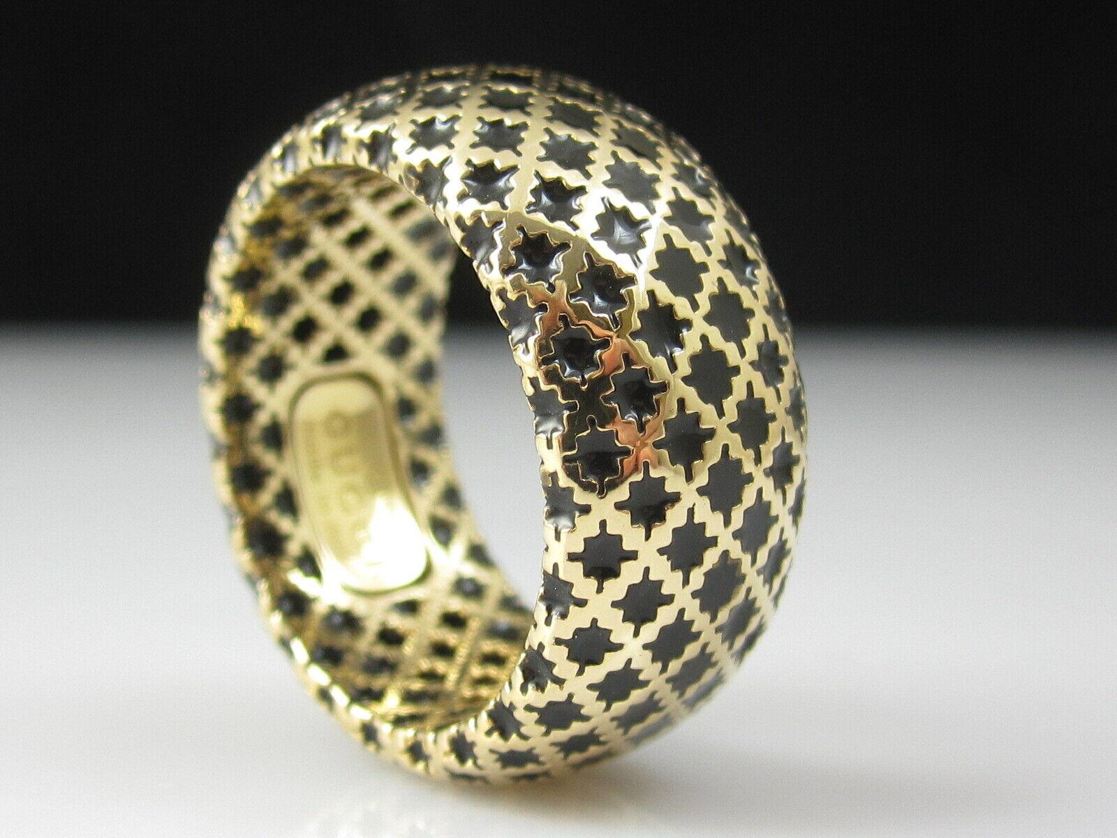 GUCCI Ring 18K ITALY Yellow Gold Black Enamel Wide Band Diamantissima Size 7 - $750.00