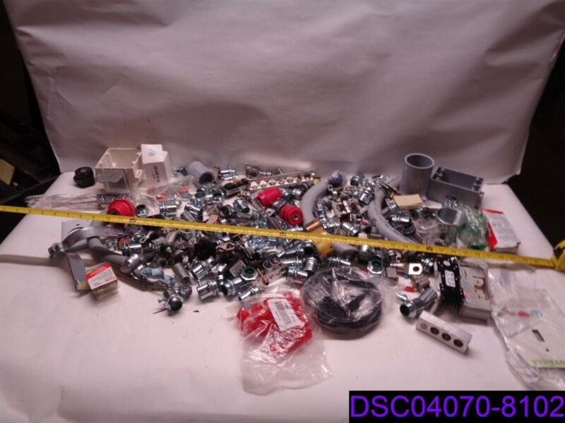 Lot of 204 Electrical Supplies, Fittings, Boxes, Conduit, Fuses and more