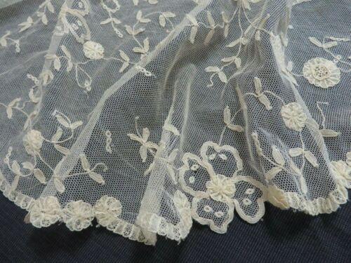 Antique Vtg PRINCESS Net LACE Collar Flowers Hand Made Belgium Edwardian Cream
