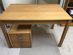 IKEA computer desk with bank of drawers