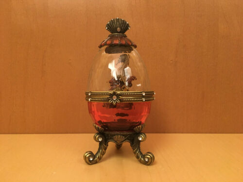 Seahorse Music Box in Glass/Metal Egg