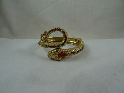 """Graziano Snake Serpent Turquoise Coral Gold Tone Hinged Wrap Bracelet 7"""""""