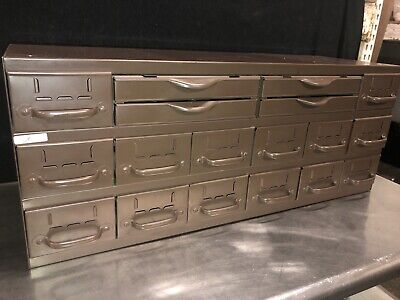 Vtg Equipto 18 Drawer Industrial Metal Small Parts Cabinet 34w X11d X 13-34h