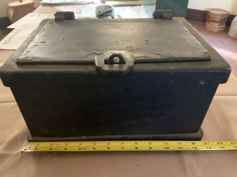 Antique Cast Iron Strong Box Metal Safe Rare 1800s Stagecoach Wagon Western