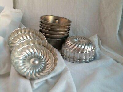 Vintage 6 Mini Aluminum Jello Molds~6 Bunt Cake Aluminum Pans~ Baking Tins (12)