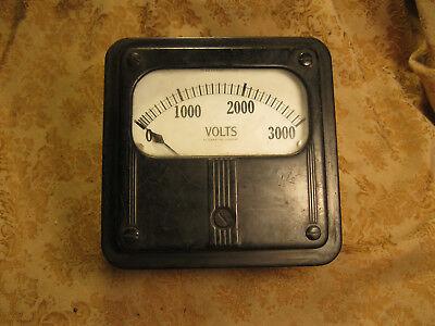Vintage 3000 Volt Ac Voltmeter Meter Analog Steampunk Art Deco