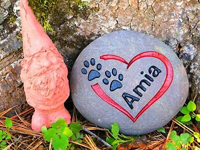 Pet Memorial Stone Cat or dog Personalized Engraved river stone, pet gravestone,