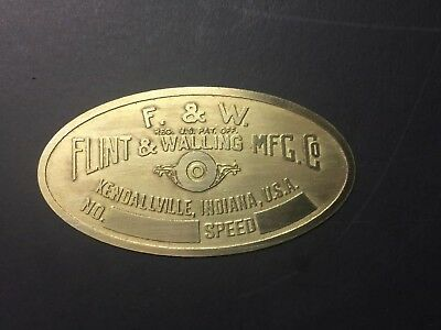 New Flint Walling Brass Tag Antique Gas Engine Hit Miss