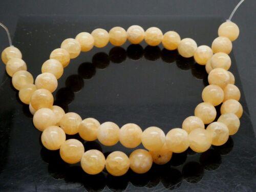 """Natural Yellow Calcite 8mm Round Smooth Gemstone Beads Strand 15"""" Bargain"""