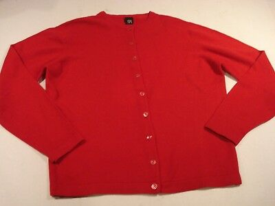 - S5A Saks Cardigan 100% Cashmere Sweater Spring Red M
