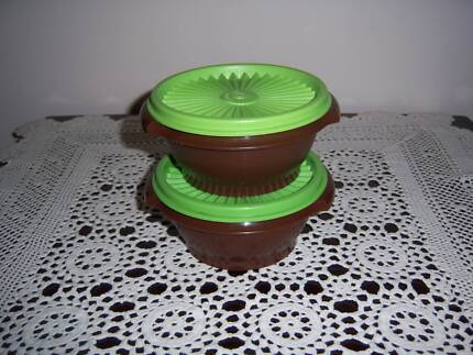 Retro Vintage Tupperware Canister Container Press Seal (2) Brown East Cannington Canning Area Preview