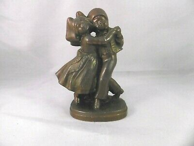 Antique French bronzed Spelter dancing couple figurine.  3 3/4