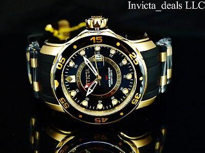 Invicta Men Pro Diver Scuba Swiss Quartz GMT Black Dial 18K Gold Plated SS Watch