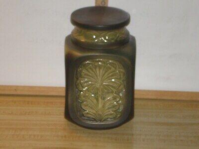 Vintage Green Square 4-Sided Cookie Biscuit Jar Poppytrail Calif. Flowers Rd -
