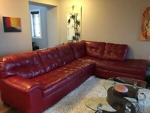 Leather Red Sectional Couch (Peeling) -First come first serve!