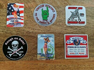 Lot Of 6 Union Printed Hardhat Stickers