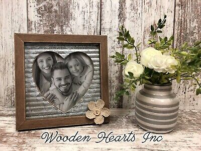 PICTURE FRAME HEART 7X7 Standing Photo Holder Love Baby Family Wedding Rustic