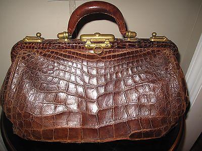 Antique 19th Century Alligator Doctor's Bag  w Brass Hardware & Feet Genuine
