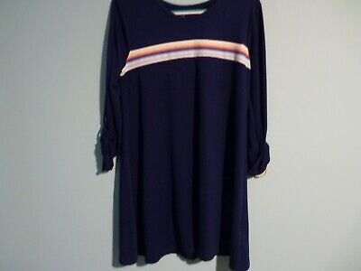 Juniors' SO® Roll-Tab French Terry Dress Blue w Multi Stripe Size Large NWT $36 French Terry Roll