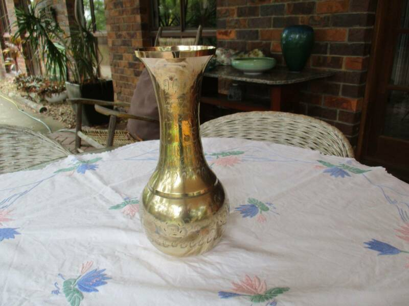 Large Brass Vase With Hand Made Decorations Vases Bowls