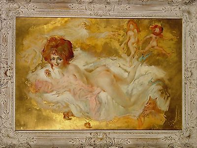 FOR SALE,Julian Ritter, BLAME IT ON THE APPLE, Oil Painting, Gold Leaf, 21X32