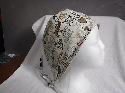 Dog Chef Hat (surgical scrub cap hat men women painter chef beige brown hearts love my)