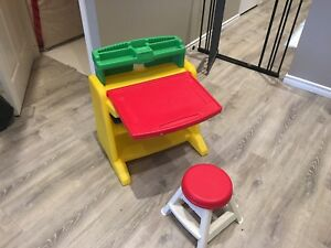 Kids art desk with chair.