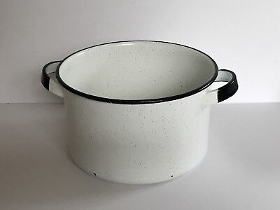 "Large  9.5"" wide Vintage  White black trim enamelware stock pot  No Lid"