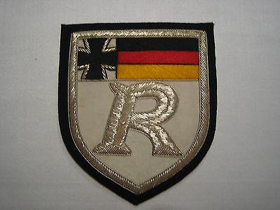 """Stoffabzeichen Reservisten """"sibernes R"""" weiß mit Metallfäden"""