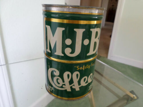 SCARCE, MJB 3 LB COFFEE TIN CAN SAFETY SEALED OUTSTANDING CONDITION