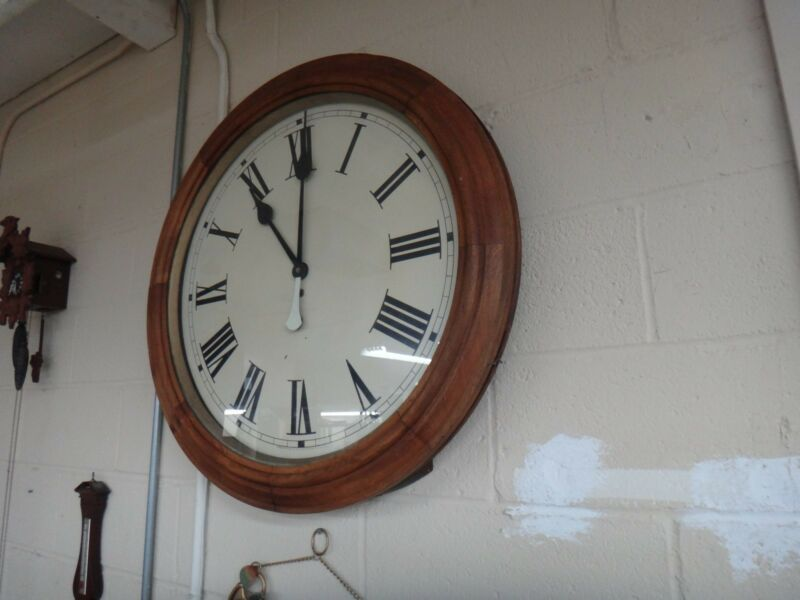Antique Huge Waterbury Gallery School wind wall clock time only running 30 inch