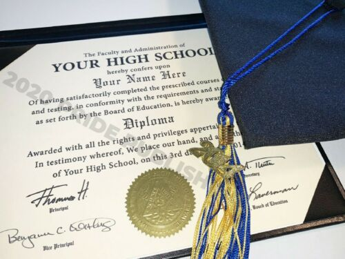 High School Diploma or GED | Raised Ink | Same Day Digital Copy | Same Day Ship
