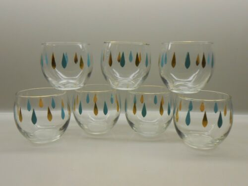 Set of 7 MCM Roly Poly Barware Glasses - Aqua Gold Raindrops - Excellent Vintage
