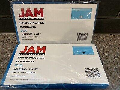 Two 13 Pocket Blue Plastic Expanding File Foldercheck Size 5 X 10.5 Jam Paper