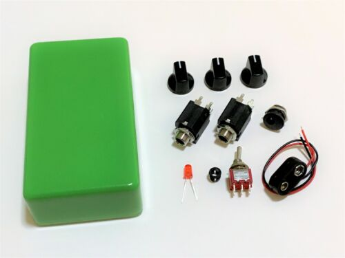 DIY Guitar Pedal Parts Kit Green 1590B Knobs Jacks LED Toggle Switch 9V Clip