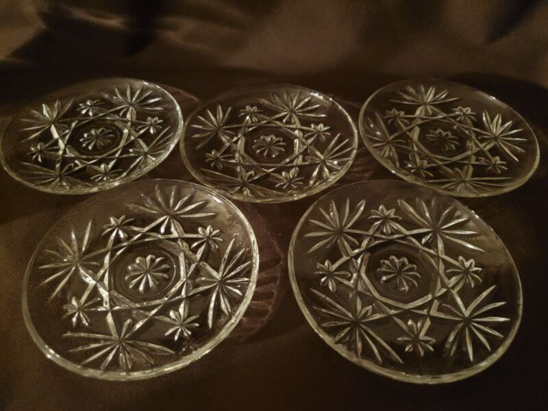 5 Vintage 1950 Anchor Hocking Star of David Pressed Glass Dessert Dishes/Plates