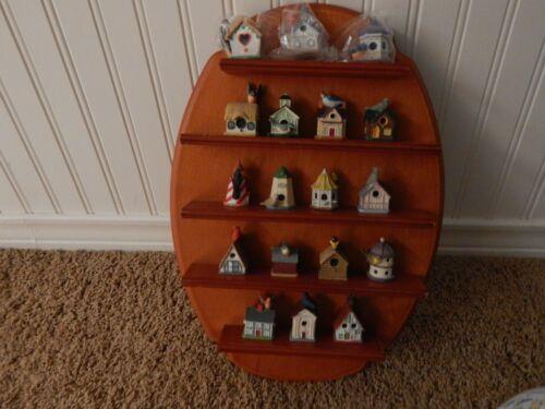 18 Lenox Bird House Thimbles With Wooden Wall Rack Shelf