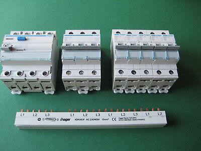 5x Hager B16-1 +1x B16-3 +1x FI Schutzschalter 40/0,03/4pol + Phasenschiene SET