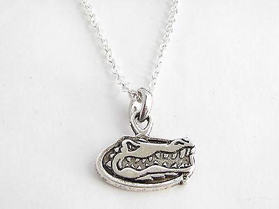 Florida Gators Silver Chain Necklace Gator Head Logo Charm UF