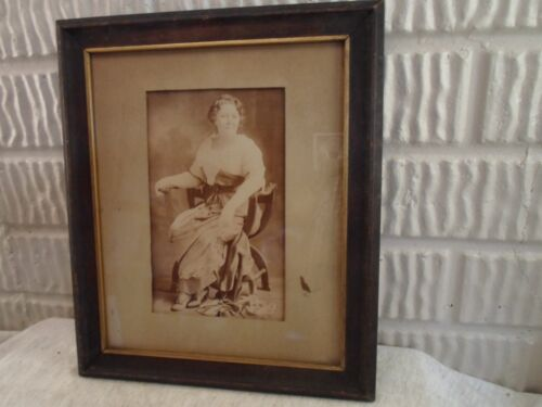 antique picture frame, photo of lady in chair, 7.75 X 9 1/2 inches, # 1244