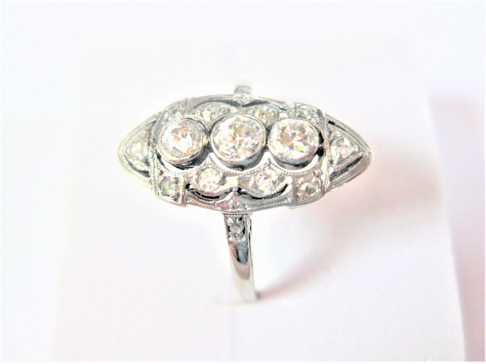 Art Deco Ring Weißgold 590 mit Diamanten, 2,55 g