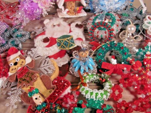 Lot of 29 Vintage Christmas ornaments beaded Bucilla & more kitschy crafting FUN