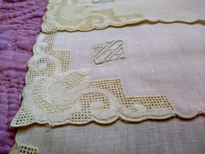 "Amazing Set 8 Madeira Embroidered & Applique Fine Light Yellow Linen Napkins 12"""