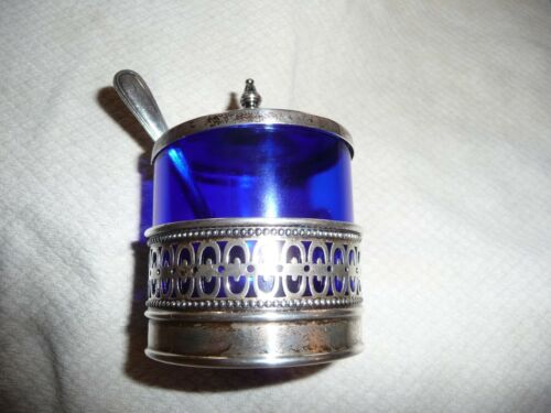 ANTIQUE WEBSTER STERLING SILVER AND COBALT GLASS MUSTARD POT AND SPOON